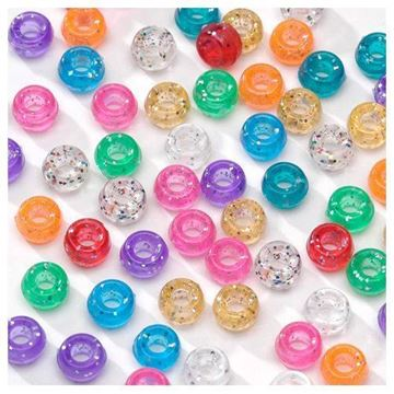 Multi-Color Glitter Pony Beads