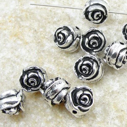 silver plated rose bud beads